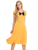Yellow Femmes à manches courtes V-neck Robe plissée Large Swing Calf Length Party Casual