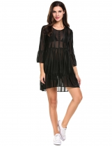 Black Striped Sheer Mesh 3/4 Flare Sleeve Asymmetrical Casual Dress