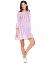 Violet femmes Sexy rayé Sheer Mesh 3/4 Sleeve Flare asymétrique Party Club mini robe