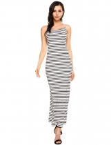Negro Wome Sexy Striped Spaghetti Correa Max Vestido Backless