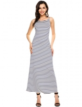 Blue Striped Spaghetti Strap Backless Maxi Dress