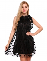 Black Tied Neck Sleeveless Mesh Polka Dot Mini Dress