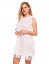 White Tied Neck Sleeveless Mesh Polka Dot Mini Dress