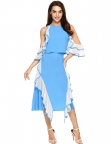 Blue Ruffle-Trimmed Patchwork Halter Backless Dress
