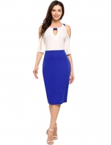 Blue Split Sleeve Patchwork Cold Shoulder Pencil Dress