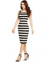 Black Sleeveless Striped Square Neck Bodycon Dress