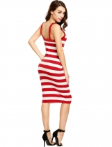Red Sleeveless Striped Square Neck Bodycon Dress