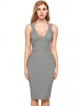 Gray Sexy Backless Sleeveless Solid Halter Split Party Bodycon Dress