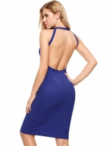 Blue Sleeveless Solid Backless Elastic Fil Lumiere Dress