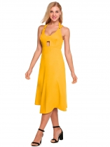Yellow Femmes Sexy Halter Backless Hollow Out Robe moulante sans manches