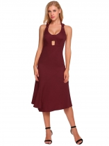 Wine red Halter Backless Cut out Sleeveless Solid Dress
