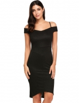 Noir Femmes Casual Short Sleeve Solid V Neck Spaghetti Straps Sexy Pencil Dress
