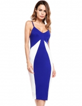 Blue Color Block Spaghetti Straps Pencil Dress