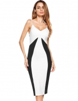 White Color Block Spaghetti Straps Pencil Dress