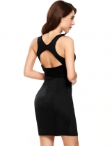 Black Sexy Cross Back Sleeveless Solid U Neck Bodycon Dress