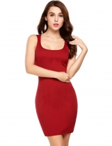 Red Sexy Cross Back Sleeveless Solid U Neck Bodycon Dress