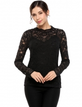 Black O-Neck Long Sleeve Lace Two Pieces Set Blouse