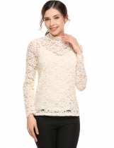 Bege Mulheres Casual O-Neck Long Sleeve Lace Two Pieces Set Top Blusa