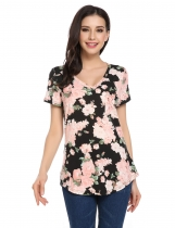 Black V-Neck Short Sleeve Floral Pocket Asymmetrical Hem Tops