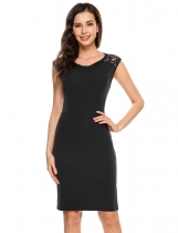 Black Sleeveless Lace Patchwork Backless Sheath Dress