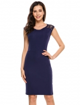 Navy blue Sleeveless Lace Patchwork Backless Sheath Dress