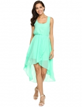 Scoop Neck Asymmetric Hem Chiffon Dress