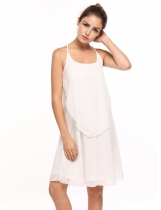 White Solid Spaghetti Strap Chiffon Dress