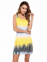 Yellow Sleeveless Gradient Beach Casual Tank Dress