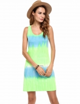 Green Sleeveless Gradient Beach Casual Tank Dress