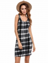 Black Sleeveless Gradient Beach Casual Tank Dress