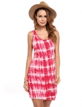 Red Sleeveless Gradient Beach Casual Tank Dress