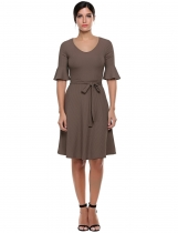 Coffee V-Neck Half Flare Sleeve A-Line Pleated Hem Elastic Casual Dress