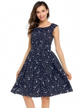 Women Round Neck sans manches Star Print Fit et Flare Casual Dress