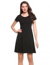 Black Short Sleeve Side Button Solid Cocktail Skater Party Dress