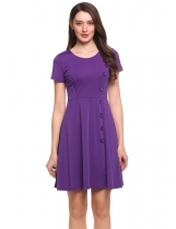 Purple Femmes manches courtes côté bouton solide patineur Party Cocktail Dress