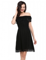 Black Slash Neck Crochet Lace Ruffles Summer Dress