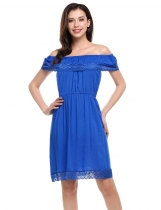 Blue Slash Neck Crochet Lace Ruffles Summer Dress