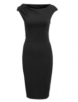Black Sleeveless Package Hip Pencil Solid Work Dress