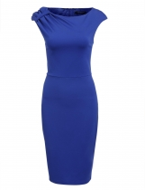 Blue Sleeveless Package Hip Pencil Solid Work Dress