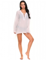 White Solid See-through Loose Bandage Asymmetrical Hem Long Blouse