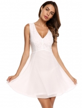 White Deep V-Neck Sleeveless Lace Patchwork Chiffon Short Dress