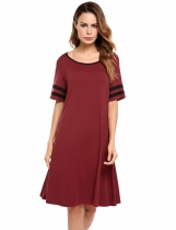 Wine red O-Neck Short Sleeve Patchwork Casual Loose Fit Tunic Top