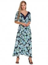 Dark blue V-Neck Short Sleeve Floral Maxi Dress