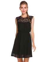 Black Sleeveless Lace Patchwork Ruched Chiffon Dress