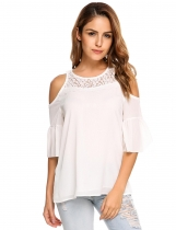 White Cold Shoulder Flare Sleeve Lace Patchwork Chiffon Blouse