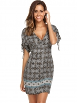 Women Bohemian Print Lace Up Sleeve V Neck Tunic Dress