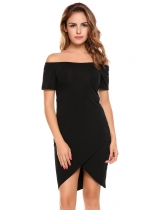 Black Short Sleeve Crossover Front Pullover Pencil Dress