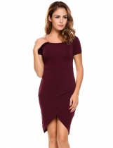 Wine red Short Sleeve Crossover Front Pullover Pencil Dress