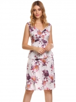 White red Sleeveless Floral Print V Neck Ruffle A-Line Dress