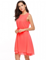 Red Casual Sleeveless Solid O Neck Chiffon Tank Dress